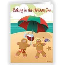 beach sunbathing santa and crew holiday writing paper design