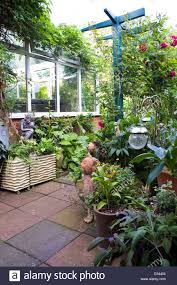 patio in small town garden full of potted plants and ornaments