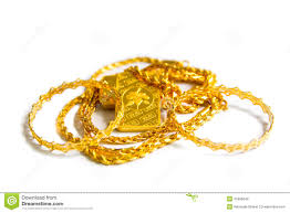 gold biscuit bar chains ornaments on a white background stock