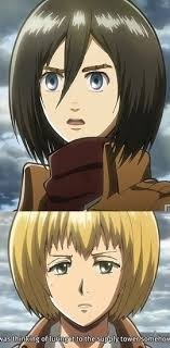 Face Replace Meme - attack on titan mikasa and armin face replace by bakeneko14 on