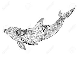 cute dolphin antistress coloring page black white hand