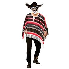 mens day of the dead mexican bandit poncho halloween fancy dress