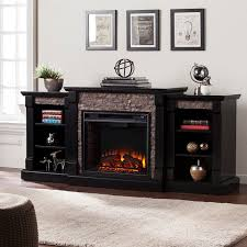 Black Electric Fireplace 71 75 Gallatin Faux Electric Fireplace W Bookcases Black
