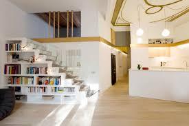 Villa Stairs Design Bookcase White And Cream Interior Color Modern Villa Design Ideas