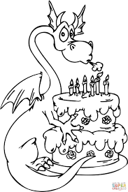 dragon happy birthday cake coloring free printable