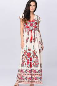 sexi maxi dress white floral multi print v neckline ruffle sleeve maxi dress