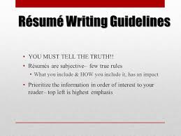 guidelines for what to include in a resume a résumé workshop for culinary arts students ppt