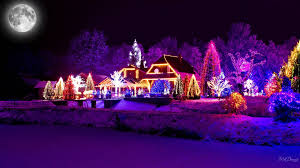 holiday christmas artistic light house colorful moon winter snow