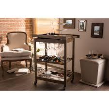baxton studio hannah brown finish rubberwood serving bar cart with