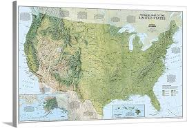 us map framed ngs topographical map of the united states of america wall