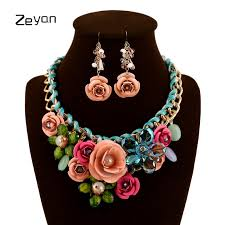 earrings with statement necklace images Zeyan fashion statement necklace and earrings jewelry set women jpg