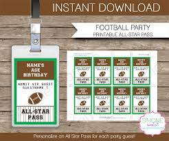 football favors football party all vip passes template party favors