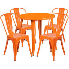 30 u0027 u0027 round orange metal indoor outdoor table set with 4 cafe