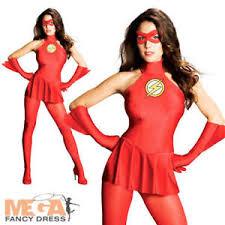 flash ladies superhero fancy dress womens party costume