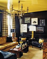 100 paint color with gold couch yellow and blue interiors