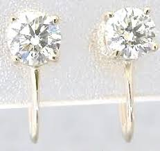 unpierced ears 1 0 ctw diamond stud earrings for non pierced ears in 14k yellow