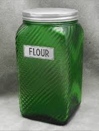 owens illinois forest green depression glass flour jar canister