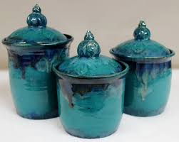 cobalt blue kitchen canisters wild blue fire ceramic kitchen canister set with lake county