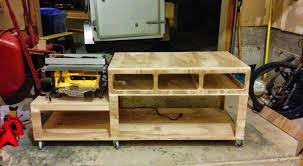 table saw workbench plans portable table saw out feed extension table planning forum