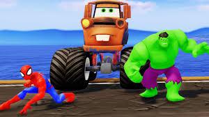 mater monster truck videos spiderman u0026 hulk w disney cars pixar tow mater u0026 donald duck