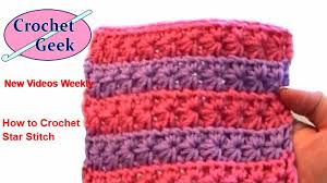 crochet pattern using star stitch how to make crochet star stitch pattern tutorial crochetgeek red
