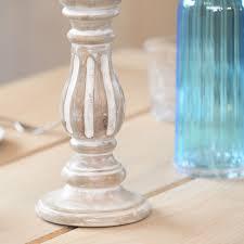 White Wash Wood Small Mango Wood Shabby Chic Whitewash Candlestick Holder Rosara