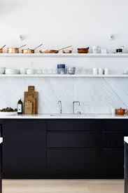 Kitchen Cabinets With Open Shelves Decordots Black Kitchen Cabinets Marble Worktop And Backsplash