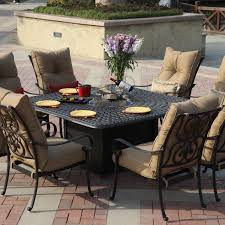 Aluminum Patio Tables Sale Darlee Santa Anita 9 Piece Cast Aluminum Patio Fire Pit Dining Set