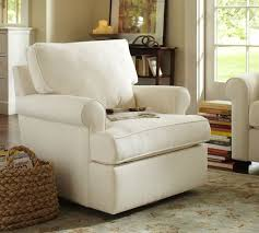 Living Room Swivel Chairs Upholstered Buchanan Roll Arm Upholstered Swivel Armchair Pottery Barn