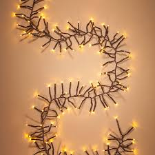 6 ft brown wire led garland lights warm white