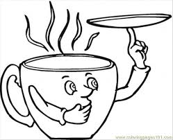 Saucer And The Coffee Cup Coloring Page Free Kitchenware Cup Coloring Page