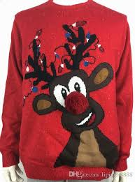 rudolph sweater lights up rudolph the nosed reindeer pattern