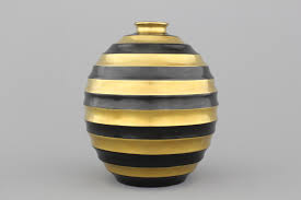 Deco Vase A Fine Boch Mettlach Luxembourg Art Deco Vase With Gilt And Black