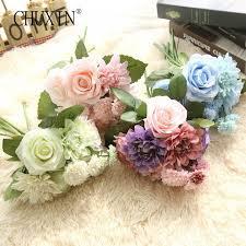 silk flowers for wedding silk roses flower wedding bouquet dahlias artificial flowers