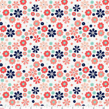 coral spring flowers fabric by the yard coral fabric carousel