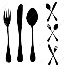 silhouettes of subjects for kitchen and for meal royalty free