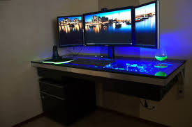 Pc Desk Ideas Desk Design Ideas Three Monitor Best Computer Gaming Room Office