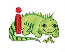The Inchworm I Iguana And Inchworm Embroidery Design
