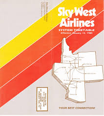Piedmont Airlines Route Map by Airline Timetables Skywest Airlines January 1984