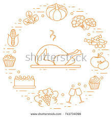 happy thanksgiving objects fall symbols stock vector