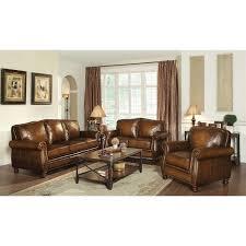 leather livingroom set coaster montbrook 3 leather sofa set in brown 503981 2 3 pkg
