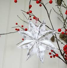 handmade vintage paper origami christmas star tree decoration