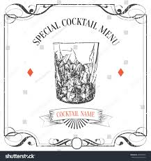 old fashioned cocktail illustration hand drawn sketch cocktail vintage backgroundspecial stock vector