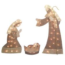 burlap nativity set at home at home