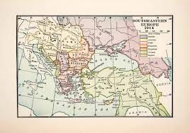 Ottoman Empire Serbia 1930 Print Map Southeastern Europe Russia Ottoman Empire Serbia