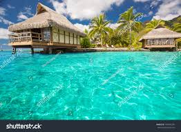 over water bungalows steps into amazing stock photo 104755295