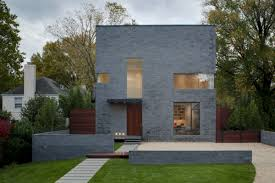 modern grey nuance of the exterior design of the cinder block
