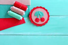 felt brooch embroidered summer felt cherry ornament set of
