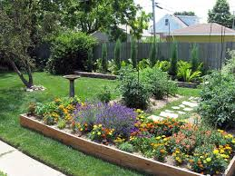 Backyard Plus Delightful Large Backyard House Design With Wood Raised Bed With
