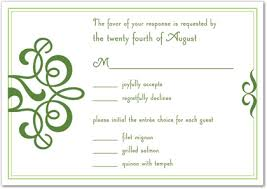 Response Card Wording Classic Flourish Green Rsvp Cards Wedding Response Cards 29679